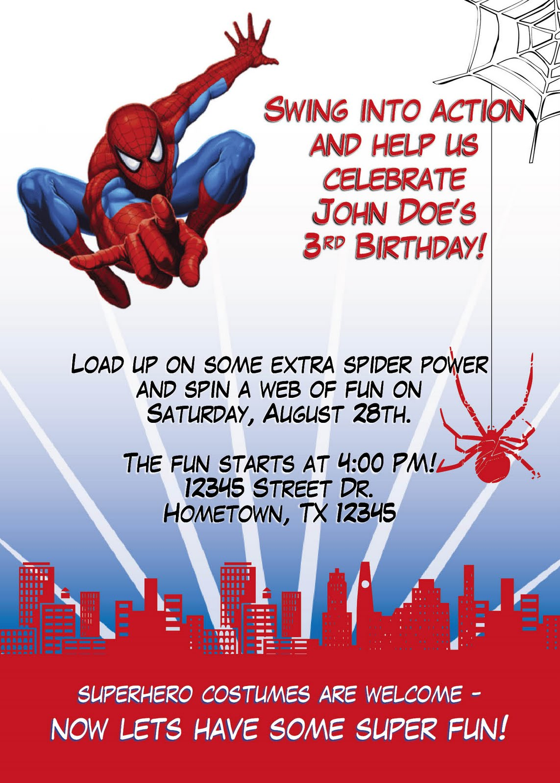 Birthday Invitation Designs - Spiderman birthday invitation maker free