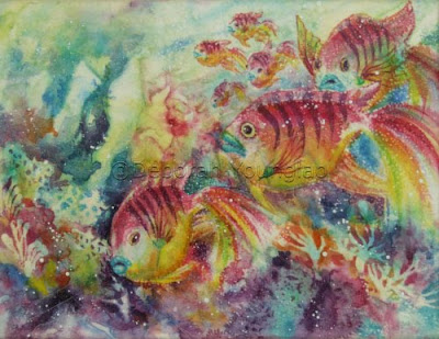 Younglao silk painting Watery World II