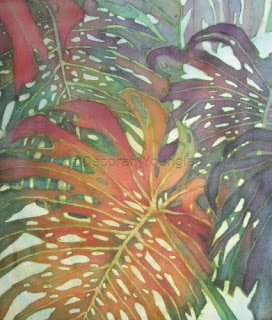 Younglao batik painting monstera palms 'Palm Patterns 1'