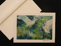 silk painting bird notecard