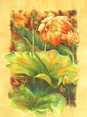 Younglao silk painting In Full Bloom