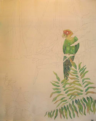 Deborah Younglao parrot silk painting in progress