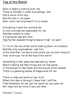 Top of The World-The Carpenters (Lyrics) - YouTube