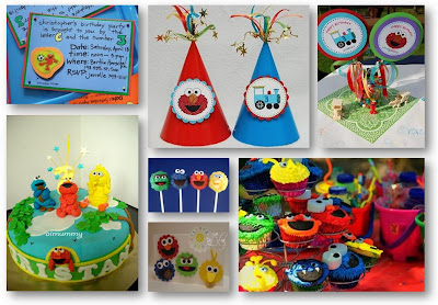 So Here We Go My Design Board For Elmo Sesame Street Themed Birthday Party Concept Is Color Lots And Of Handmade Caps Invitation Cards