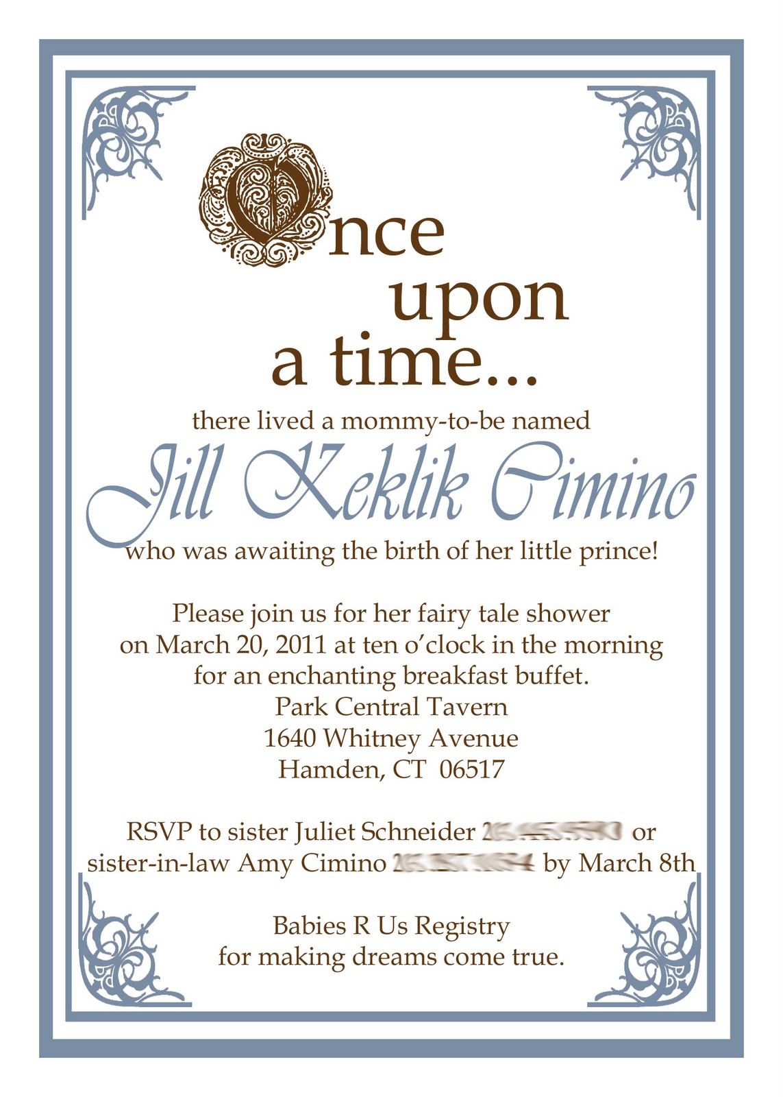 once upon a time baby shower invite boy