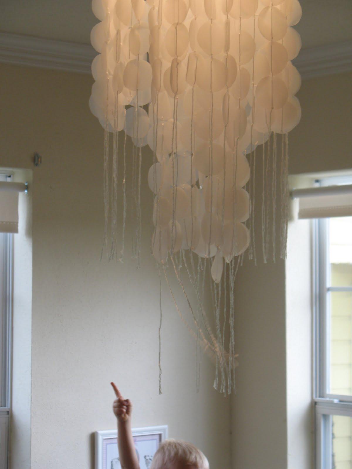 Shoestring Pavilion Faux capiz shell chandelier