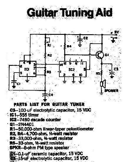 circuit electronics  guitar tuning aid