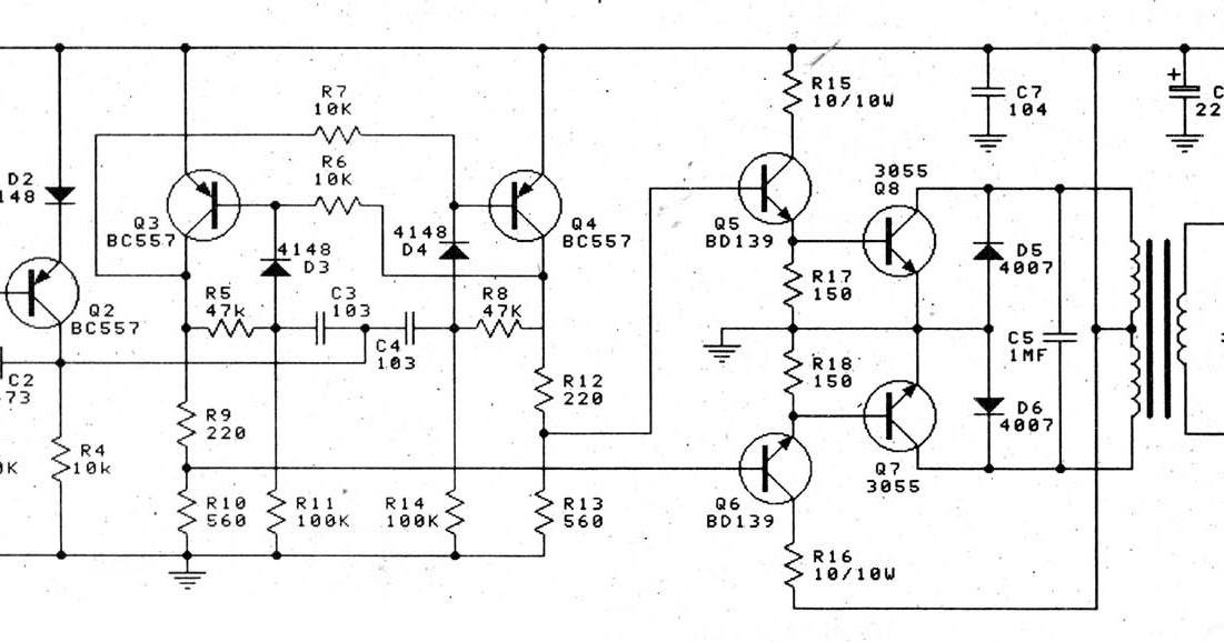 circuit electronics  inverter 12v to 220v 100w by transistor
