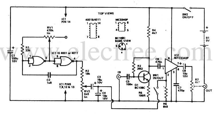 circuit electronics  tremolo unit
