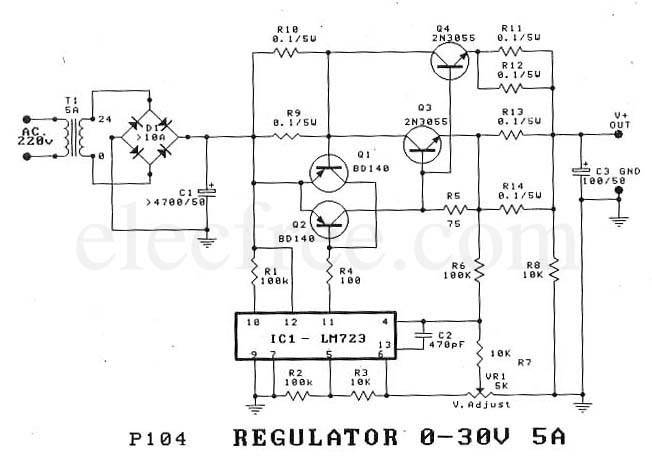 Electronic Amp Computer Regulator 0 30v 5a By Ic 723