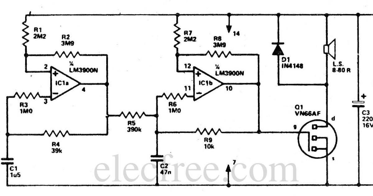 circuit electronics  two tone alarm with ic lm3900