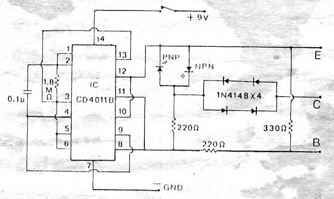 circuit electronics  test transistor in circuit by ic 4011