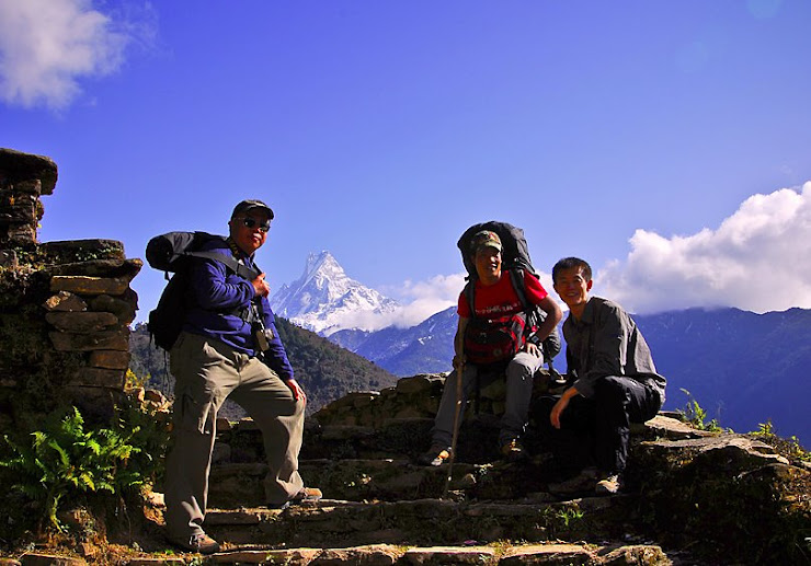 Me and my guests resting infront of Fishtail(Machhapuchere)
