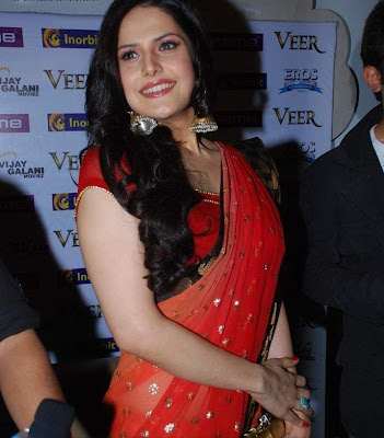 Zarine Khan Photos in Red Sarees