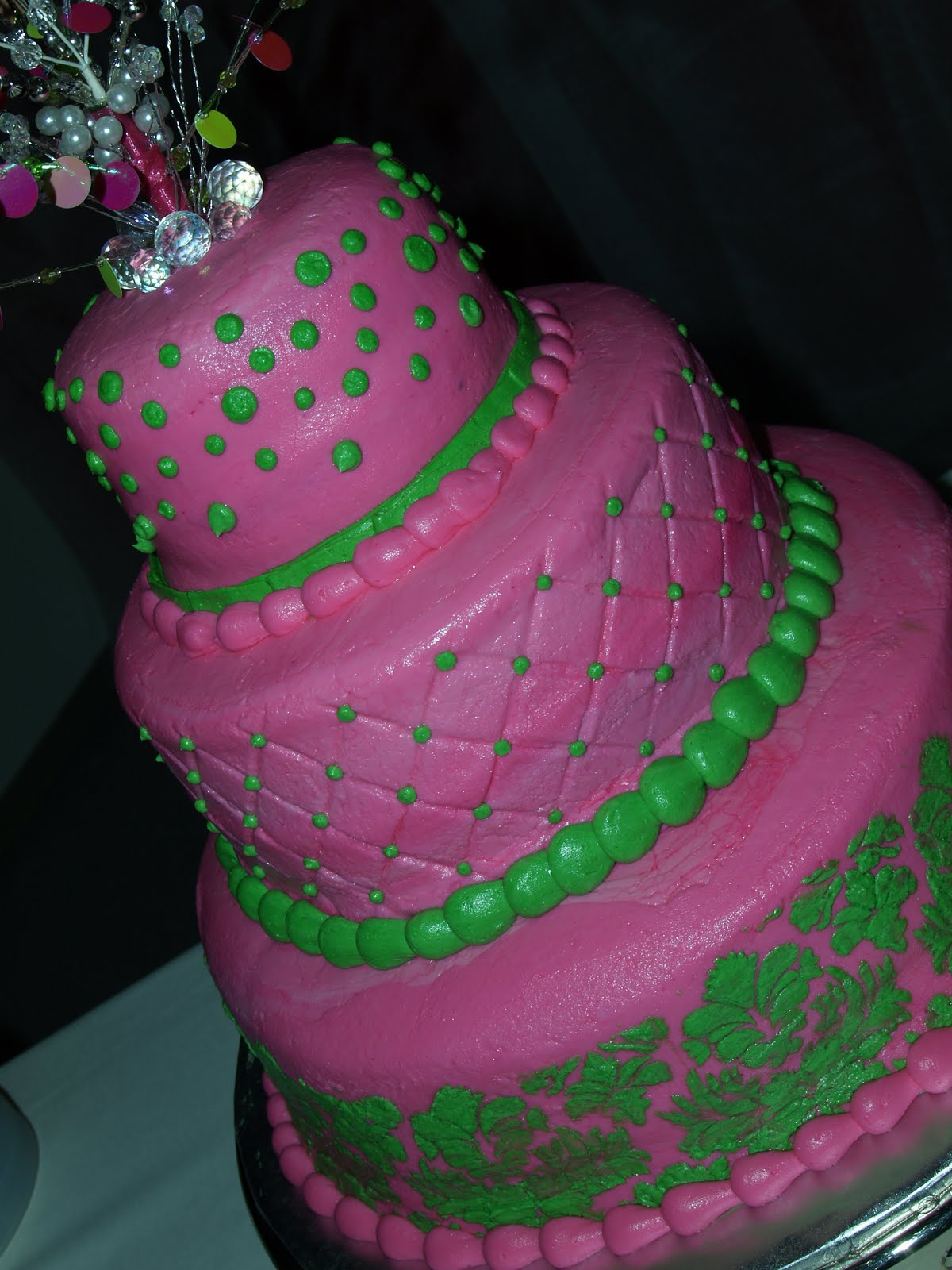 Becky\'s Sweets: Hot Pink & Green Wedding Cake