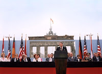 President Ronald Reagan speaking in front of the Brandenburg Gate at the Berlin Wall, June 12, 1987.