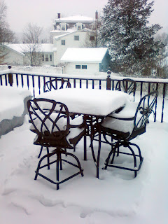 Our back porch, covered in snow