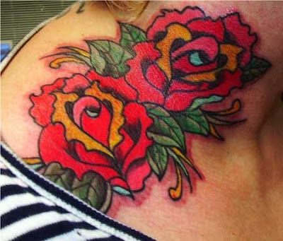Roses Tattoo Design Ideas In Solid Red Colour Looking Great And Strong