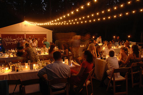 creating a starry canopy over the tables at their backyard wedding