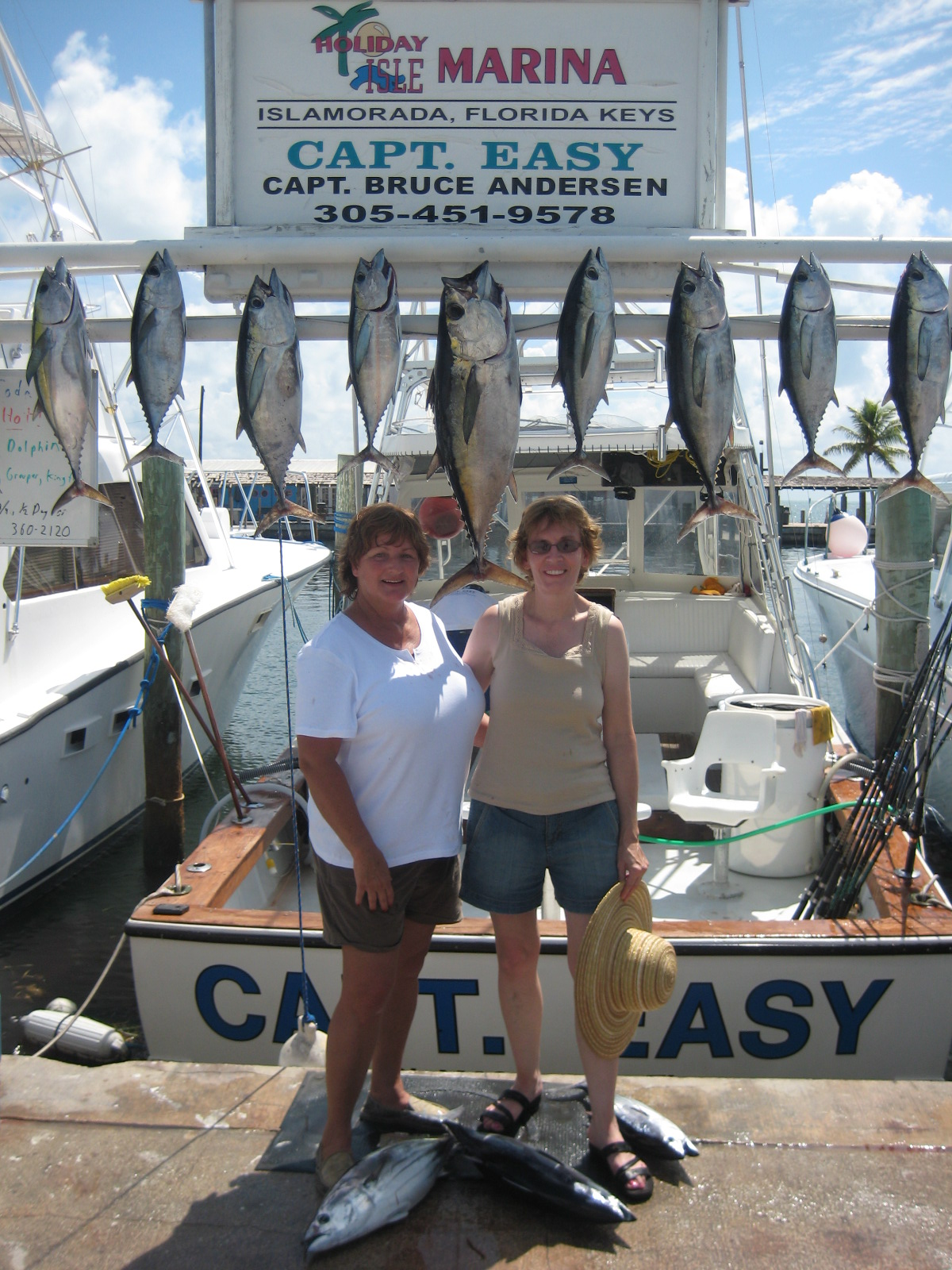 two ladies with tuna