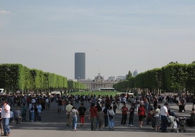 travel photos tourist mecca that is the eiffel tower looking towards invalides and montparnasse in paris in summer