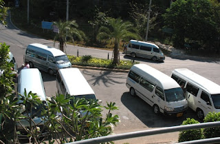 Minibuses at the viewpoint