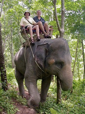 My parents on the elephant ride in Phuket