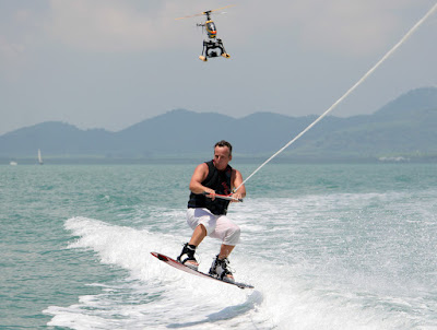 Helicam getting wakeboarding images