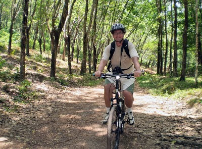 Yes, that's me on a bike - a little off road cycling in Koh Yao Noi - photo taken by Lek