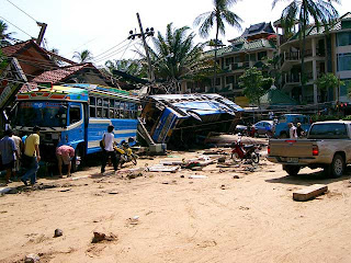 Bus at Patong Beach, photo taken 27 December 2004