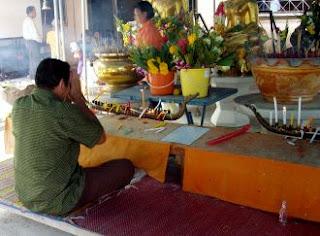Songkran prayers at a temple in Phuket