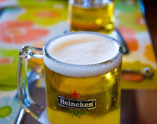 Draft Heineken - just perfect on a hot day!