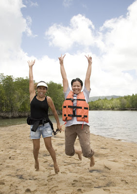 My wife and friend on a sandbank in the mangroves