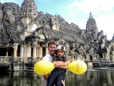 Me and my boy outside the Palace of the Elephants at Phuket Fantase
