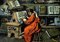 Monje en el Scriptorium. Fuente: Encarta