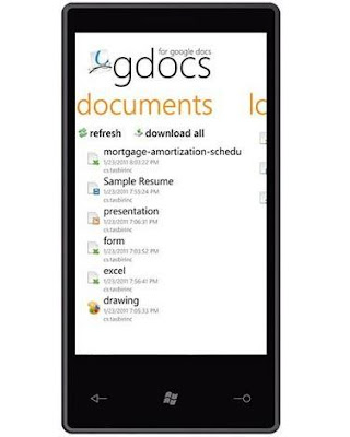 Gdocs Google Docs windows phone7