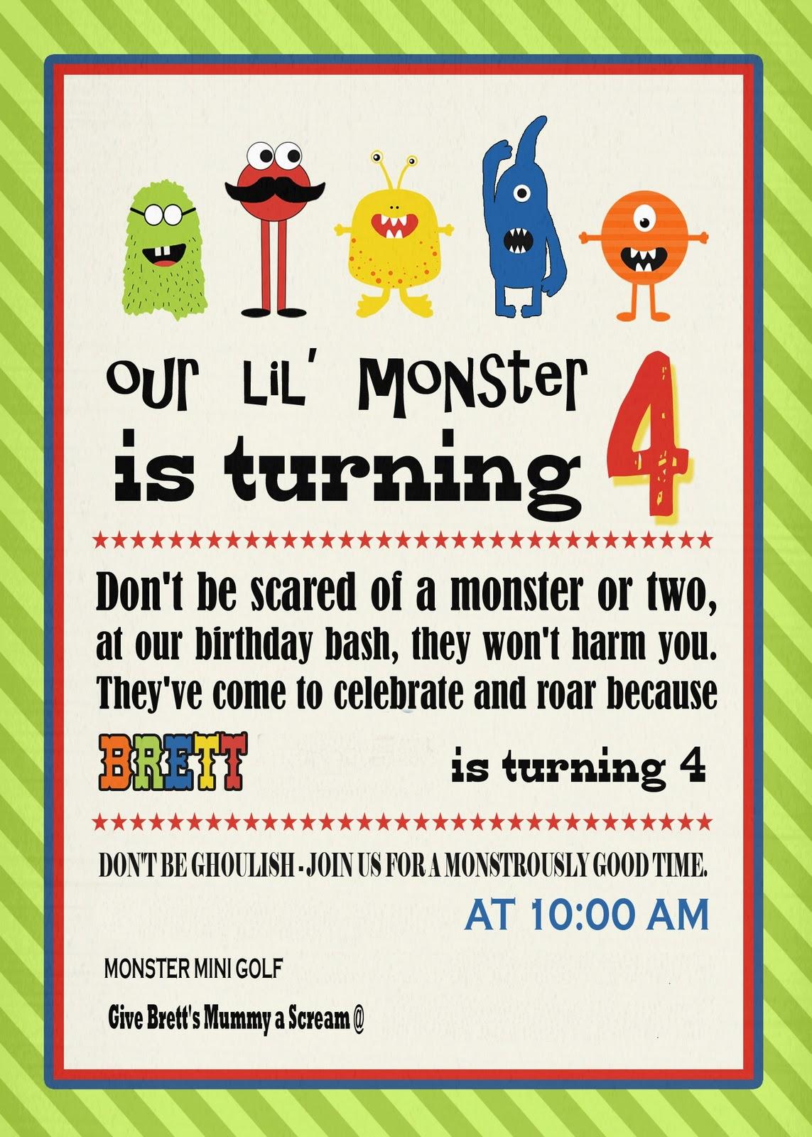 CutCopy Paste Monster Birthday Party – Mini Golf Birthday Party Invitations