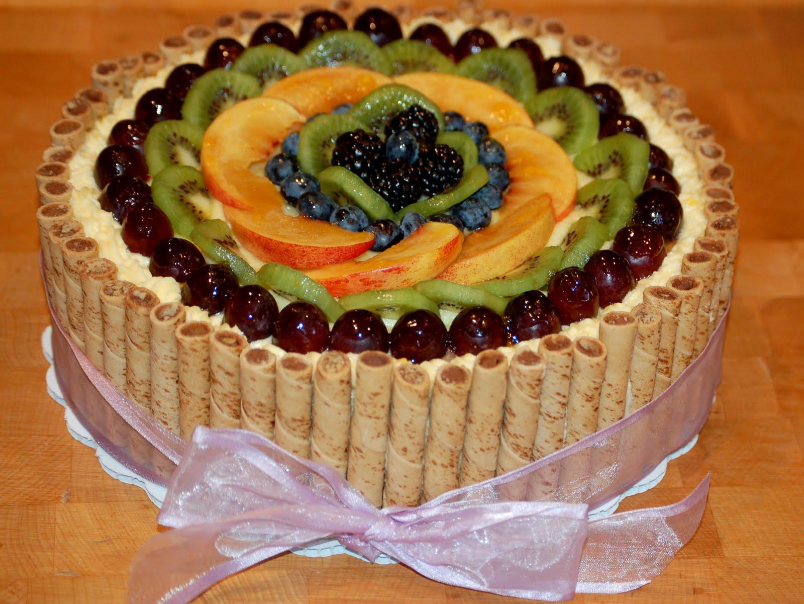 Украшение торта фруктами картинки фото