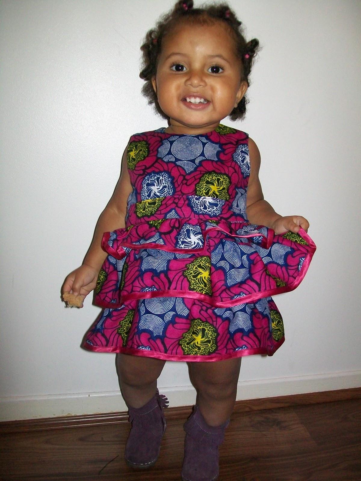 Robe pour petite fille en wax