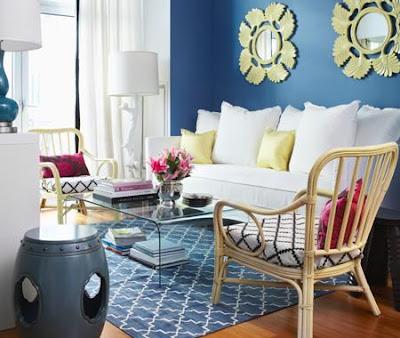 Site Blogspot  Living Room  Sectional on Design Manifest  Blue Walls