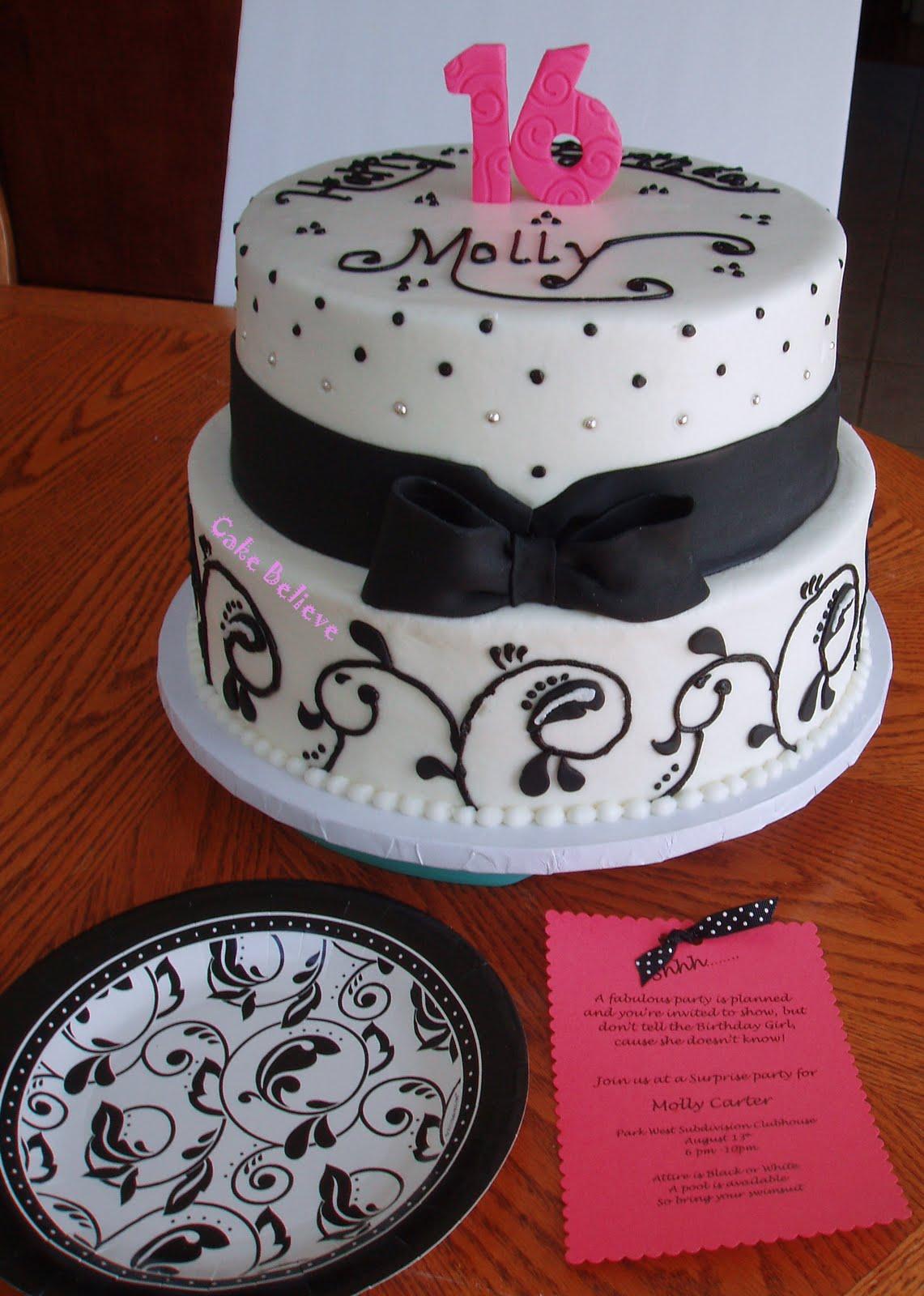 Cake Believe Black And White Sweet 16