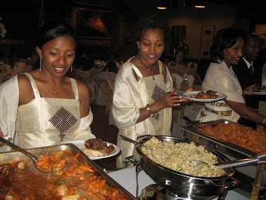 Ethiopian Wedding Reception- notice the beautiful custom made dresses!