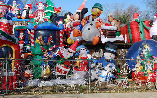 finally solved the mystery of the tacky christmas decorations - Disney Christmas Inflatables