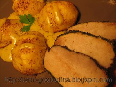 muschi de porc in crusta de verdeata