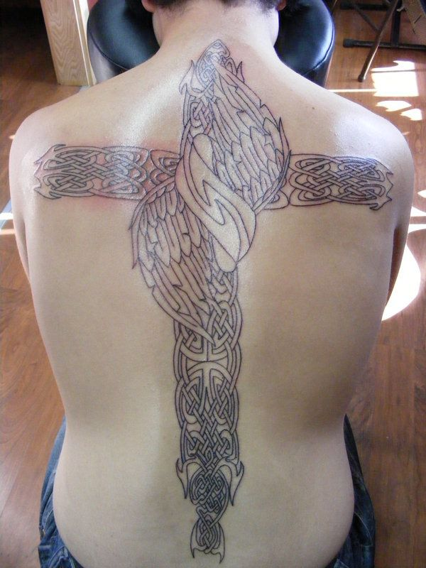 Cross Tattoos On Back For Men. Celtic Tribal Back Tattoo For