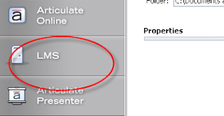The LMS button in the left menu of the Publish window