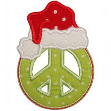 Peace Sign Santa Applique
