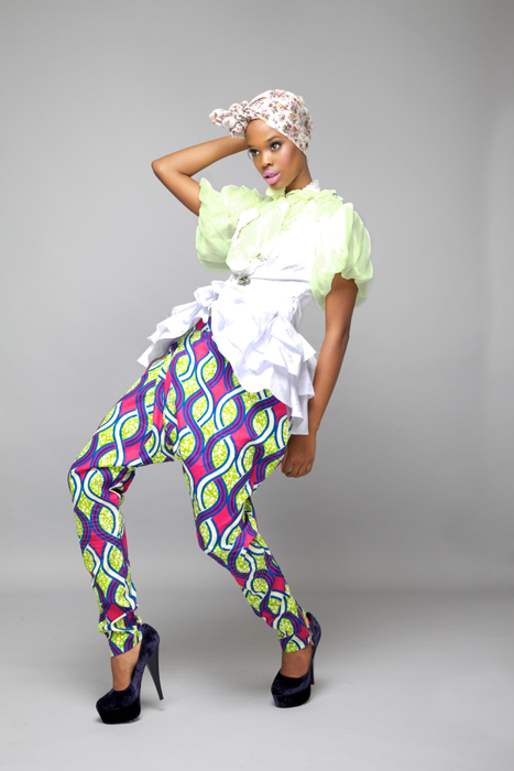 Puff Sleeve Lime Green Chiffon shirt. Abstract African Print Harem Pants White African broquet cotton waistcoat