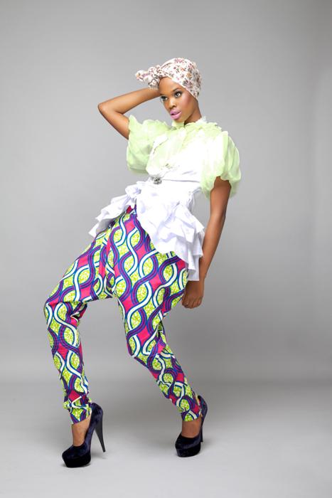 Puff Sleeve Lime Green Chiffon shirt. Abstract African Print Harem Pants White African broquet cotton waistcoat