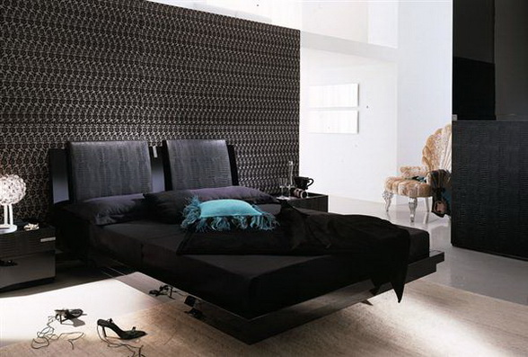 the diamond bed features a black lacquer finish and crocodile effect leather upholstery details find luxurious impression of a dark color dark color to a
